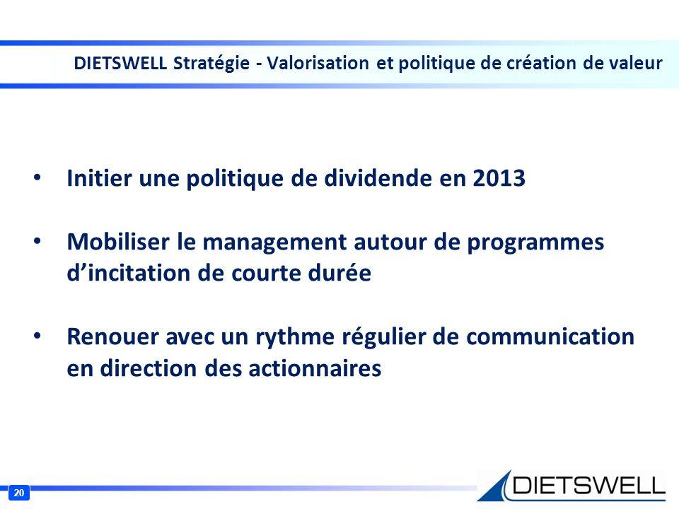 20 DIETSWELL Stratégie - Valorisation et politique de création de valeur Initier une politique de dividende en 2013 Mobiliser le management autour de