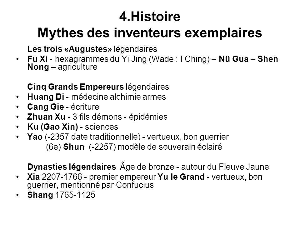 4.Histoire Mythes des inventeurs exemplaires Les trois «Augustes» légendaires Fu Xi - hexagrammes du Yi Jing (Wade : I Ching) – Nü Gua – Shen Nong – a
