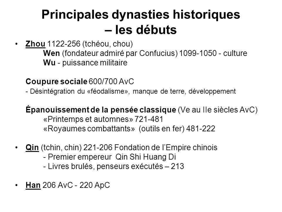 Principales dynasties historiques – les débuts Zhou 1122-256 (tchéou, chou) Wen (fondateur admiré par Confucius) 1099-1050 - culture Wu - puissance mi