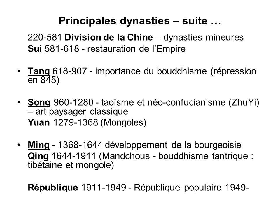 Principales dynasties – suite … 220-581 Division de la Chine – dynasties mineures Sui 581-618 - restauration de lEmpire Tang 618-907 - importance du b
