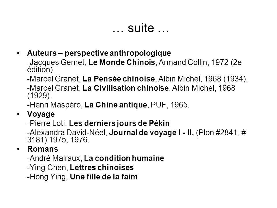 … suite … Auteurs – perspective anthropologique -Jacques Gernet, Le Monde Chinois, Armand Collin, 1972 (2e édition). -Marcel Granet, La Pensée chinois