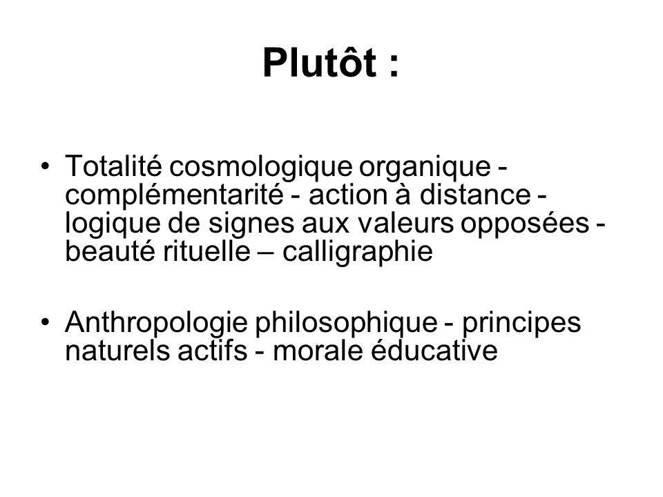 Plutôt : Totalité cosmologique organique - complémentarité - action à distance - logique de signes aux valeurs opposées - beauté rituelle – calligraph
