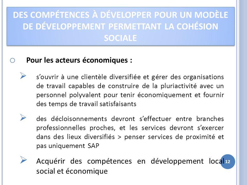 o Pour les acteurs économiques : souvrir à une clientèle diversifiée et gérer des organisations de travail capables de construire de la pluriactivité