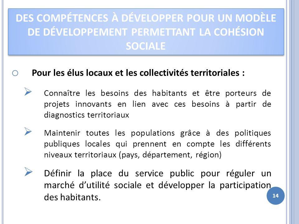 o Pour les élus locaux et les collectivités territoriales : Connaître les besoins des habitants et être porteurs de projets innovants en lien avec ces