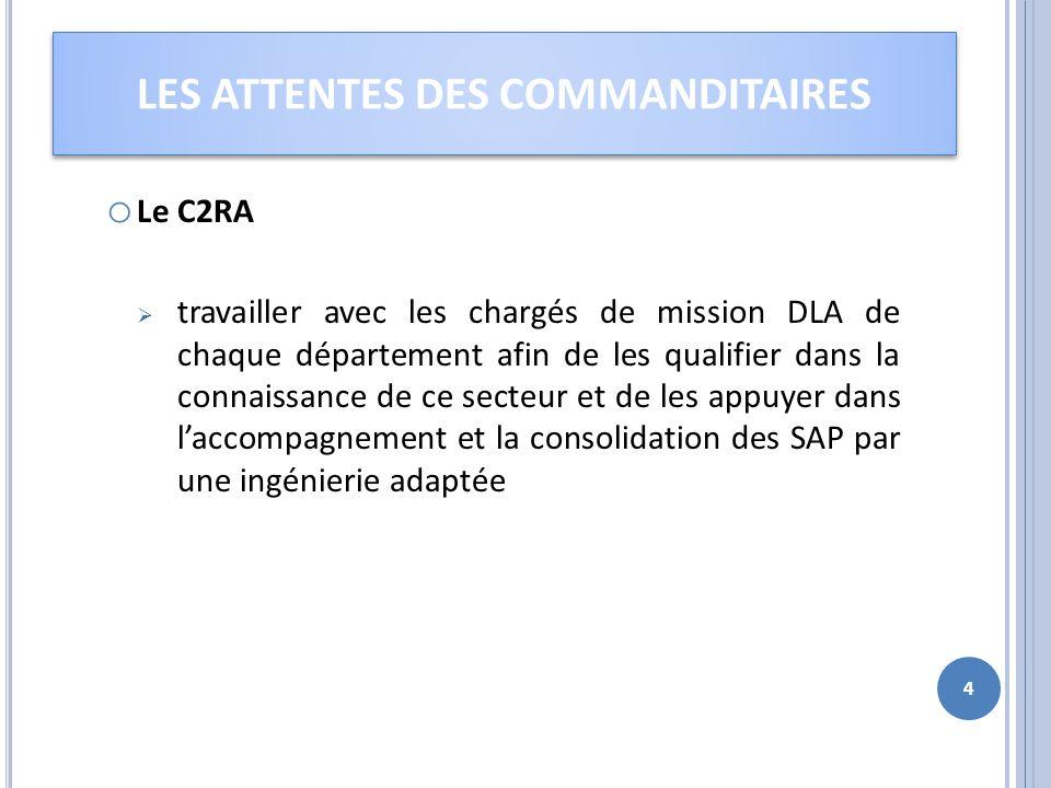 o Le C2RA travailler avec les chargés de mission DLA de chaque département afin de les qualifier dans la connaissance de ce secteur et de les appuyer