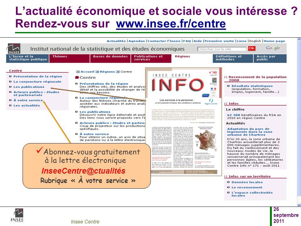 Insee Centre 26 septembre 2011 Lactualité économique et sociale vous intéresse ? Rendez-vous sur www.insee.fr/centrewww.insee.fr/centre Abonnez-vous g