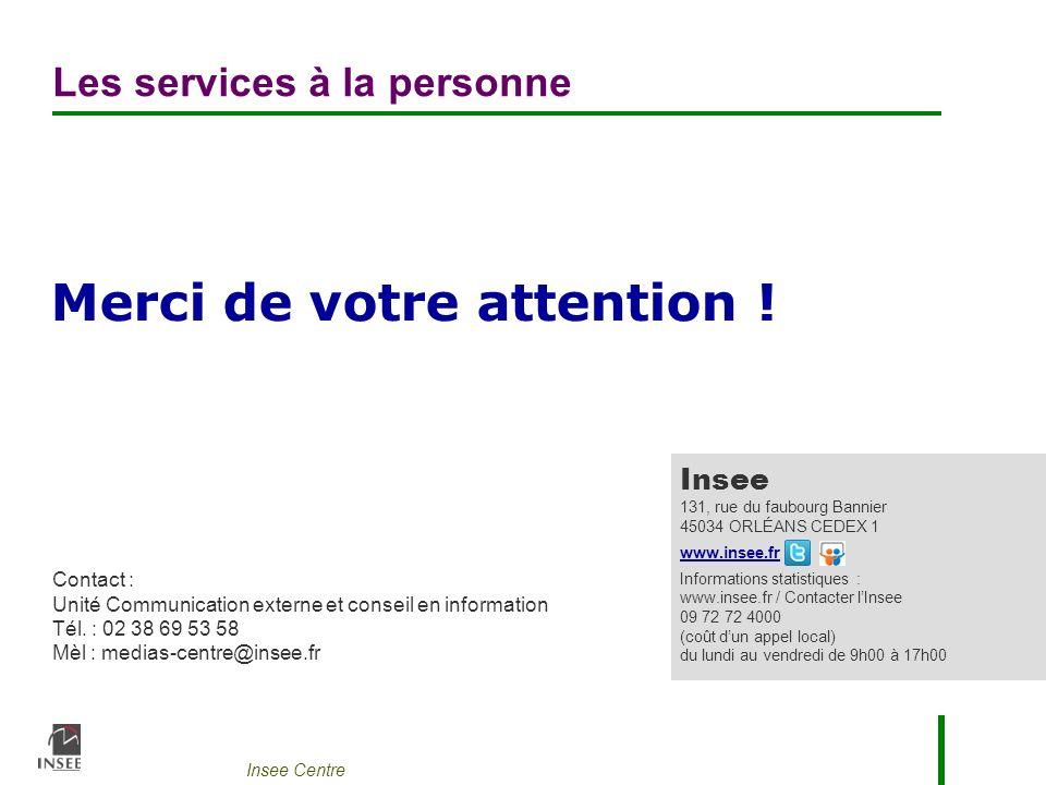 Insee Centre Merci de votre attention ! Contact : Unité Communication externe et conseil en information Tél. : 02 38 69 53 58 Mèl : medias-centre@inse