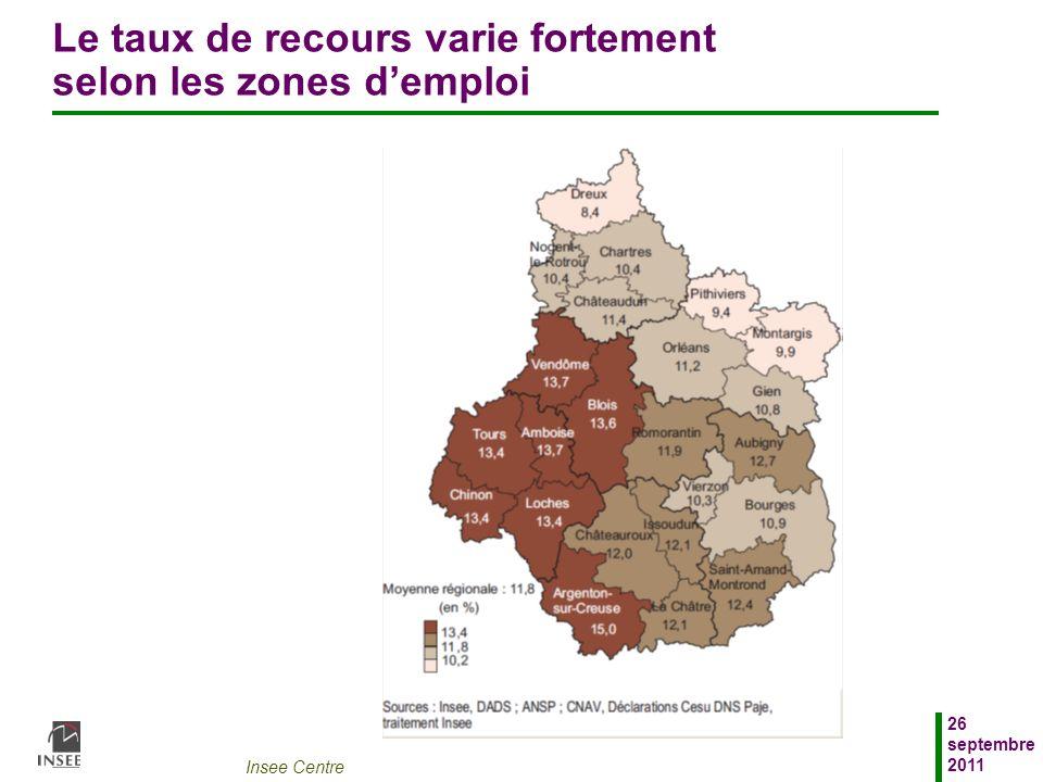 Insee Centre 26 septembre 2011 Le taux de recours varie fortement selon les zones demploi