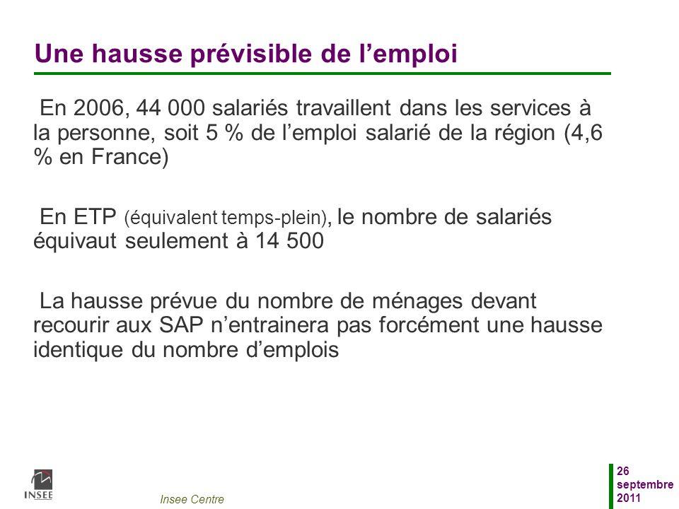 Insee Centre 26 septembre 2011 Une hausse prévisible de lemploi En 2006, 44 000 salariés travaillent dans les services à la personne, soit 5 % de lemp