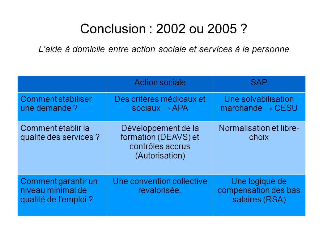 Conclusion : 2002 ou 2005 .