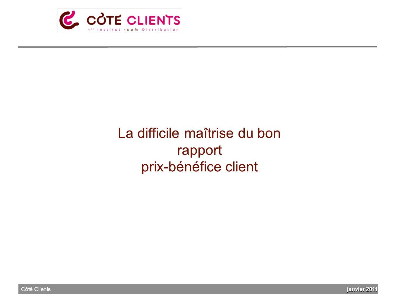 La difficile maîtrise du bon rapport prix-bénéfice client janvier 2011 Côté Clients