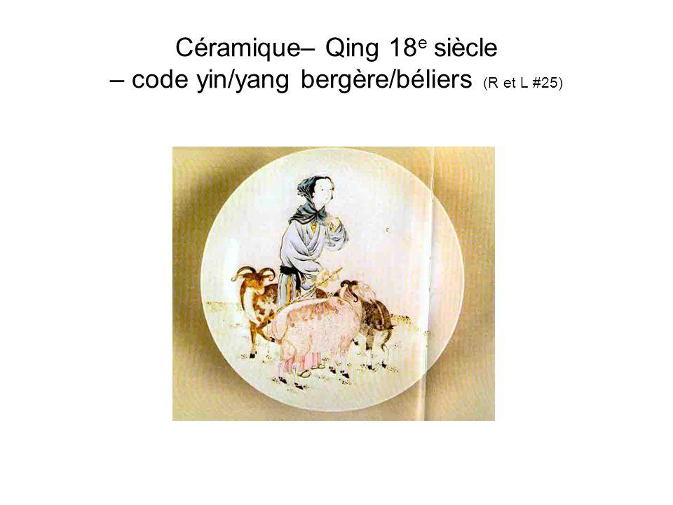 Céramique– Qing 18 e siècle – code yin/yang bergère/béliers (R et L #25).