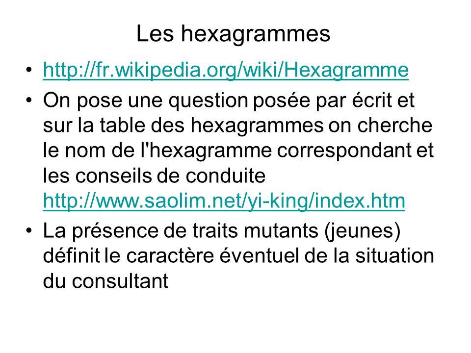 Les hexagrammes http://fr.wikipedia.org/wiki/Hexagramme On pose une question posée par écrit et sur la table des hexagrammes on cherche le nom de l'he