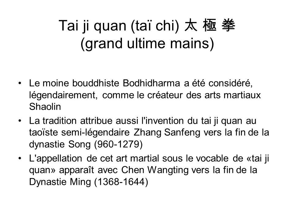 Tai ji quan (taï chi) (grand ultime mains) Le moine bouddhiste Bodhidharma a été considéré, légendairement, comme le créateur des arts martiaux Shaoli