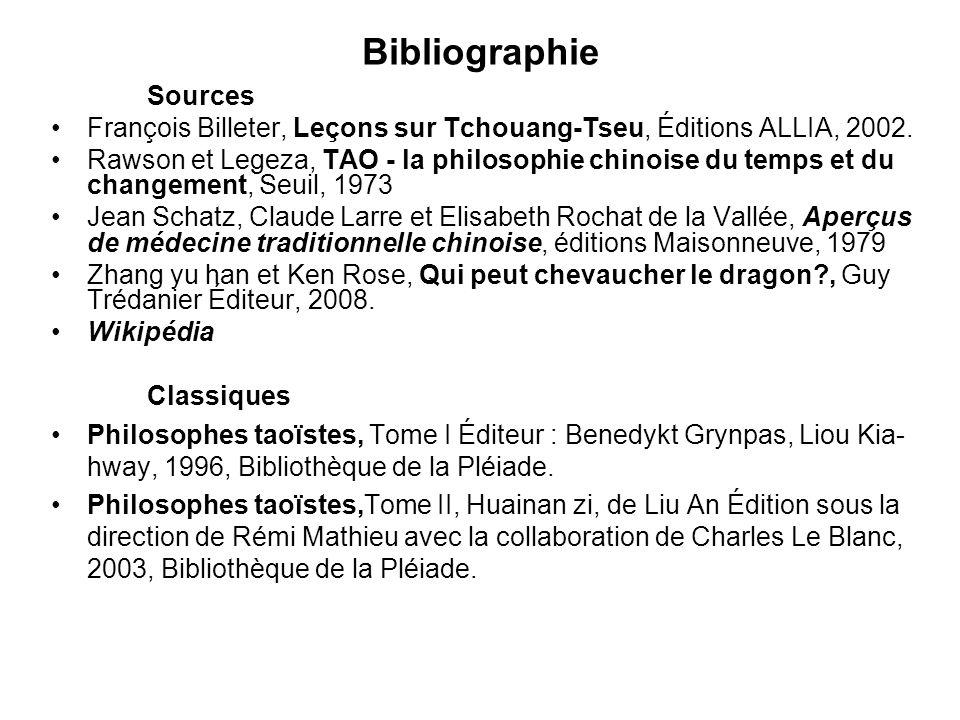 Bibliographie Sources François Billeter, Leçons sur Tchouang-Tseu, Éditions ALLIA, 2002. Rawson et Legeza, TAO - la philosophie chinoise du temps et d