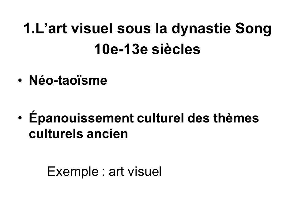 1.Lart visuel sous la dynastie Song 10e-13e siècles Néo-taoïsme Épanouissement culturel des thèmes culturels ancien Exemple : art visuel