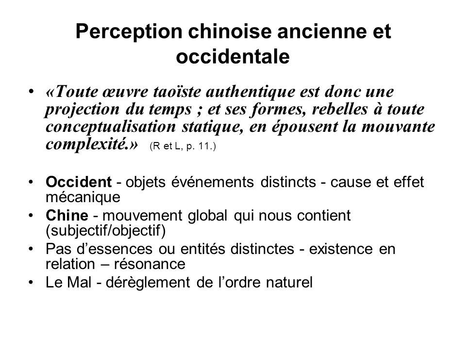 Perception chinoise ancienne et occidentale «Toute œuvre taoïste authentique est donc une projection du temps ; et ses formes, rebelles à toute concep
