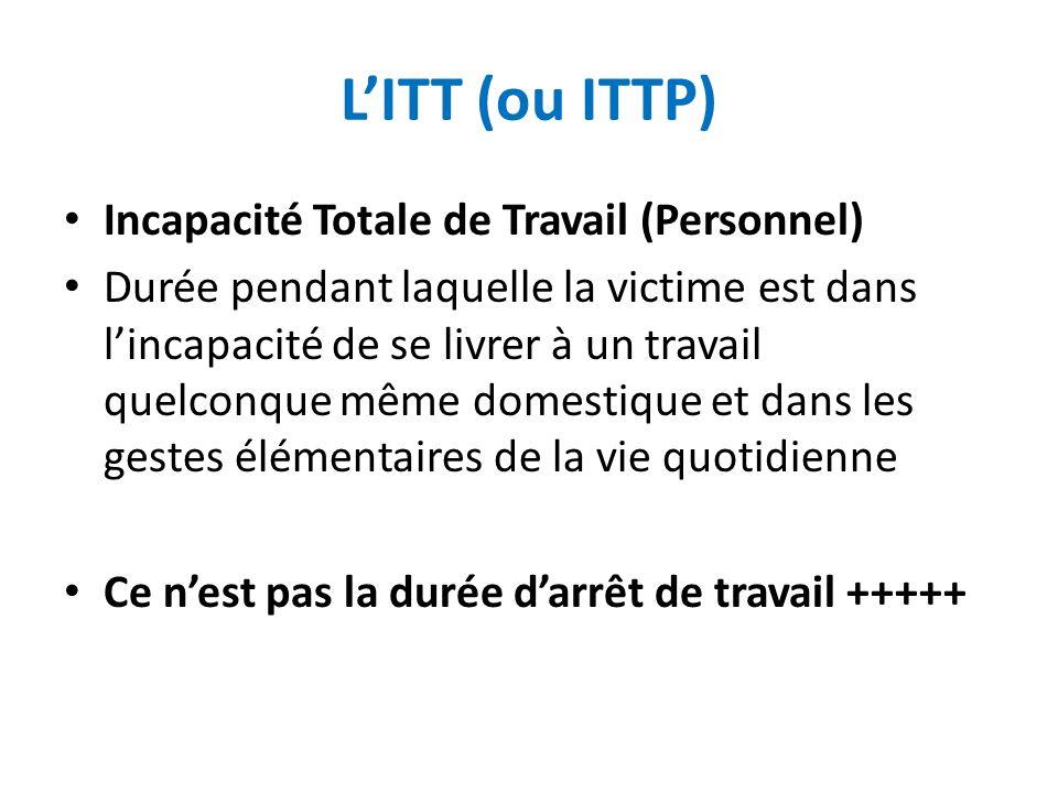 LITT (ou ITTP) Incapacité Totale de Travail (Personnel) Durée pendant laquelle la victime est dans lincapacité de se livrer à un travail quelconque mê