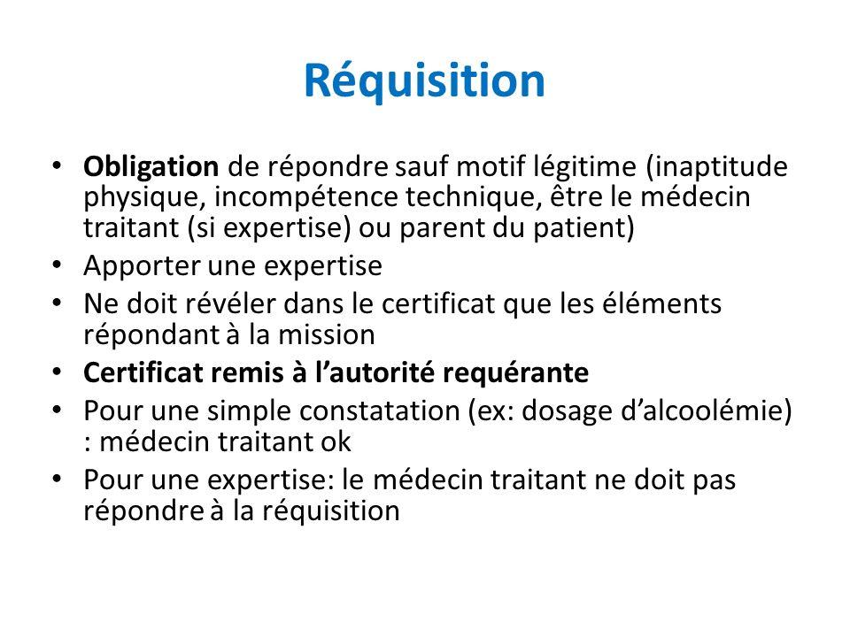 Réquisition Obligation de répondre sauf motif légitime (inaptitude physique, incompétence technique, être le médecin traitant (si expertise) ou parent