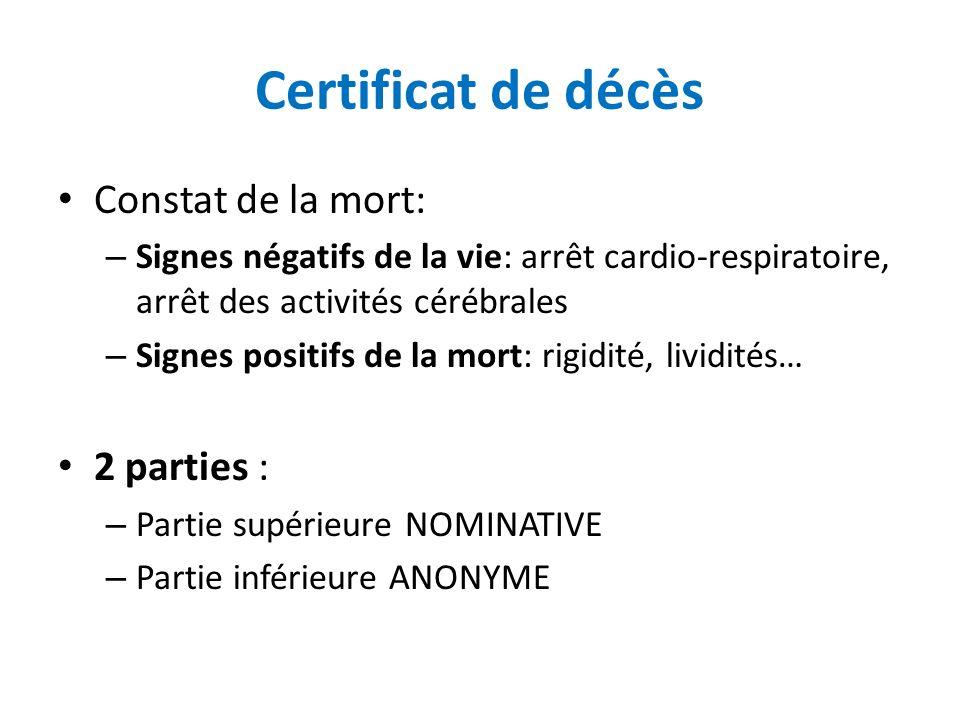 Certificat de décès Constat de la mort: – Signes négatifs de la vie: arrêt cardio-respiratoire, arrêt des activités cérébrales – Signes positifs de la
