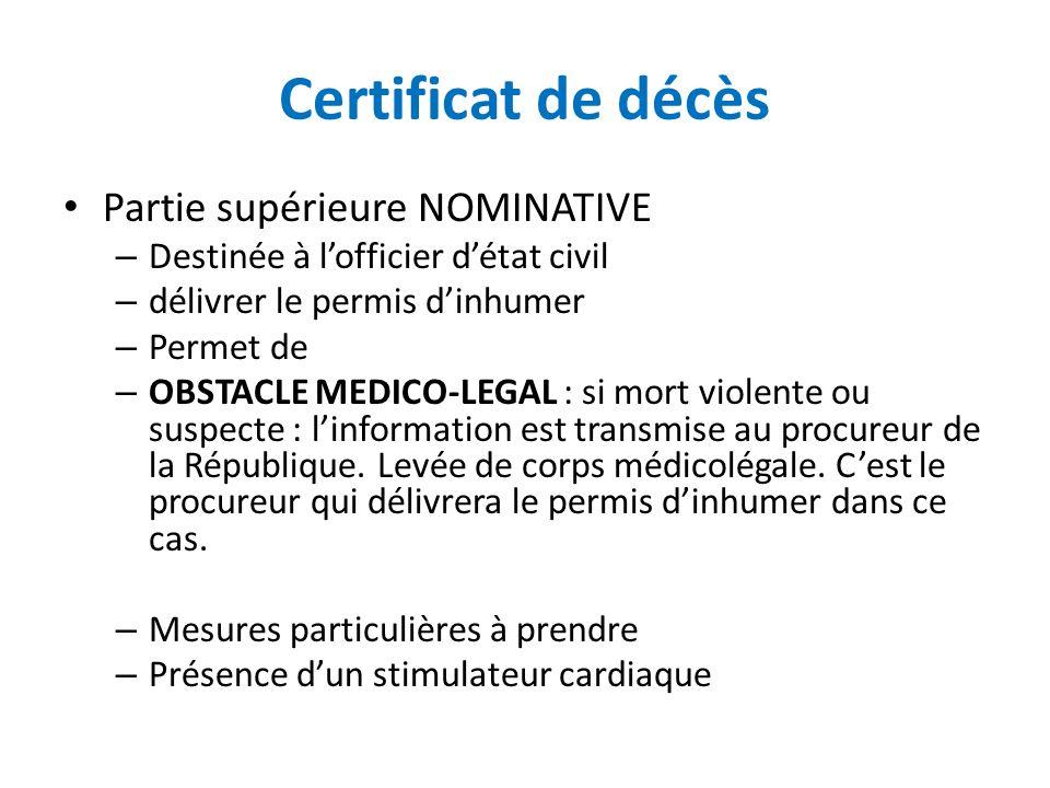 Certificat de décès Partie supérieure NOMINATIVE – Destinée à lofficier détat civil – délivrer le permis dinhumer – Permet de – OBSTACLE MEDICO-LEGAL