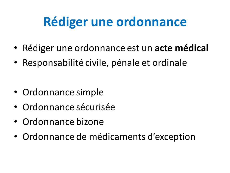 Rédiger une ordonnance Rédiger une ordonnance est un acte médical Responsabilité civile, pénale et ordinale Ordonnance simple Ordonnance sécurisée Ord