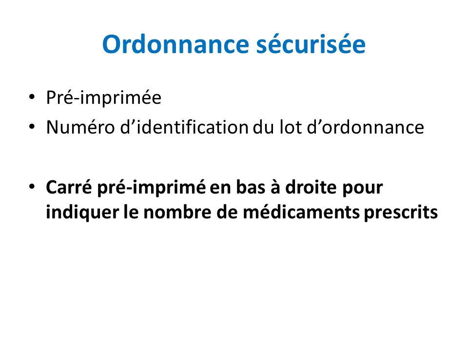 Ordonnance sécurisée Pré-imprimée Numéro didentification du lot dordonnance Carré pré-imprimé en bas à droite pour indiquer le nombre de médicaments p