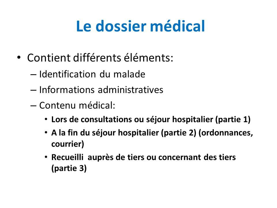 Le dossier médical Contient différents éléments: – Identification du malade – Informations administratives – Contenu médical: Lors de consultations ou