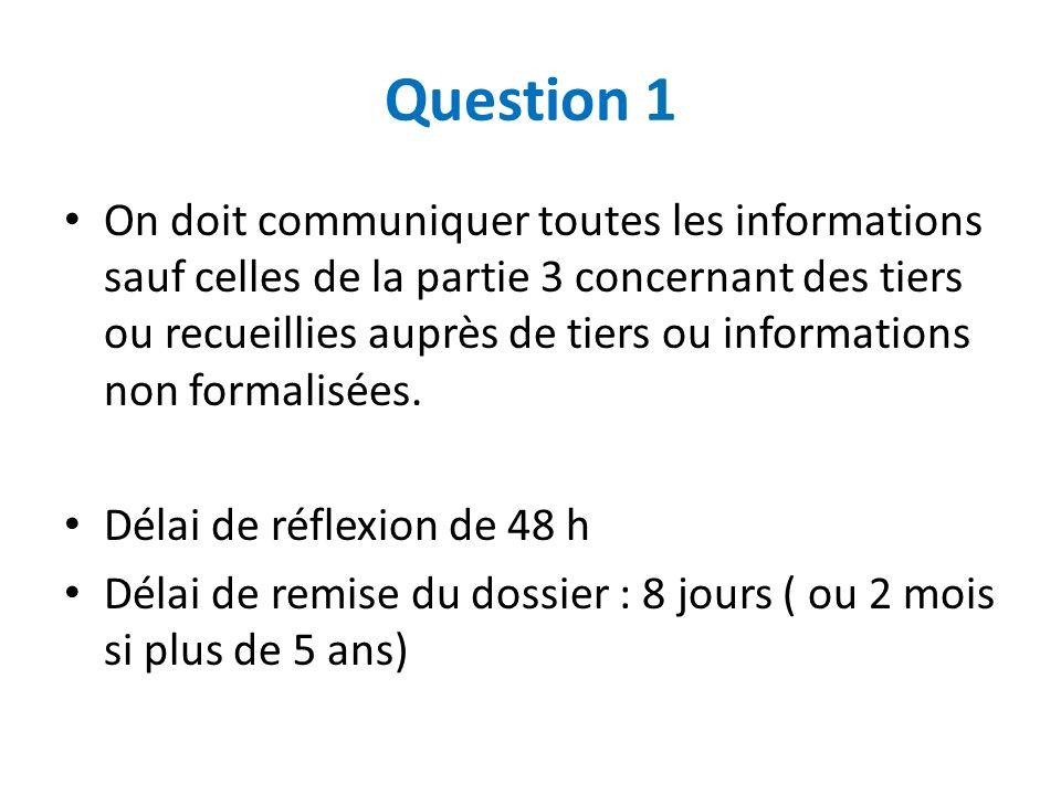 Question 1 On doit communiquer toutes les informations sauf celles de la partie 3 concernant des tiers ou recueillies auprès de tiers ou informations