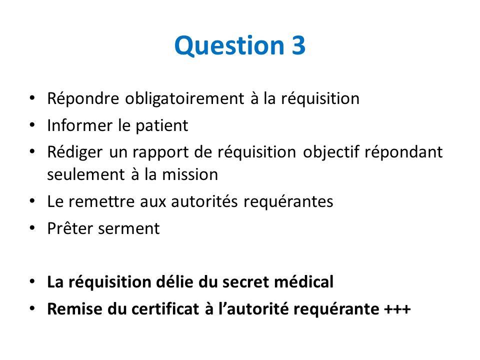 Question 3 Répondre obligatoirement à la réquisition Informer le patient Rédiger un rapport de réquisition objectif répondant seulement à la mission L
