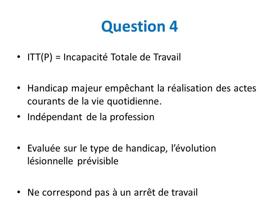 Question 4 ITT(P) = Incapacité Totale de Travail Handicap majeur empêchant la réalisation des actes courants de la vie quotidienne. Indépendant de la