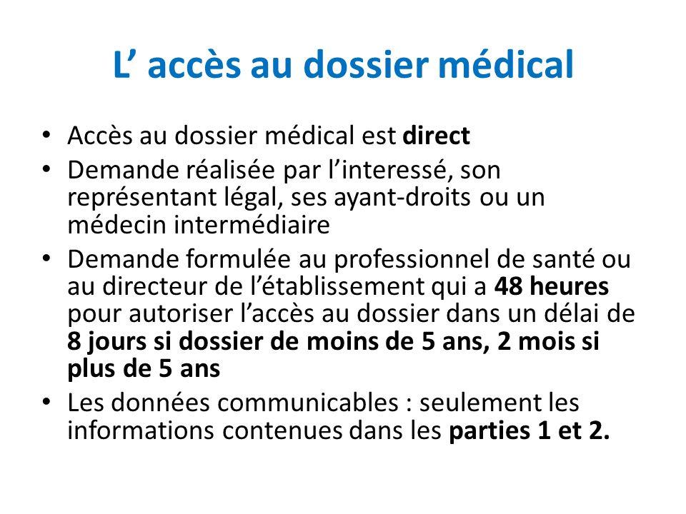 L accès au dossier médical Accès au dossier médical est direct Demande réalisée par linteressé, son représentant légal, ses ayant-droits ou un médecin