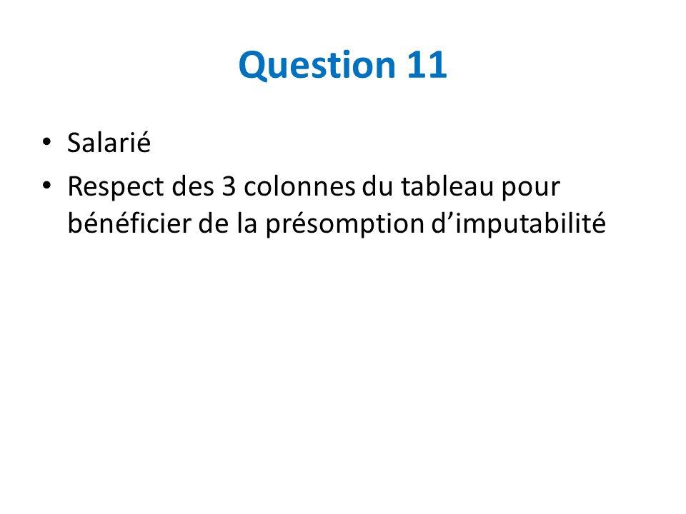 Question 11 Salarié Respect des 3 colonnes du tableau pour bénéficier de la présomption dimputabilité