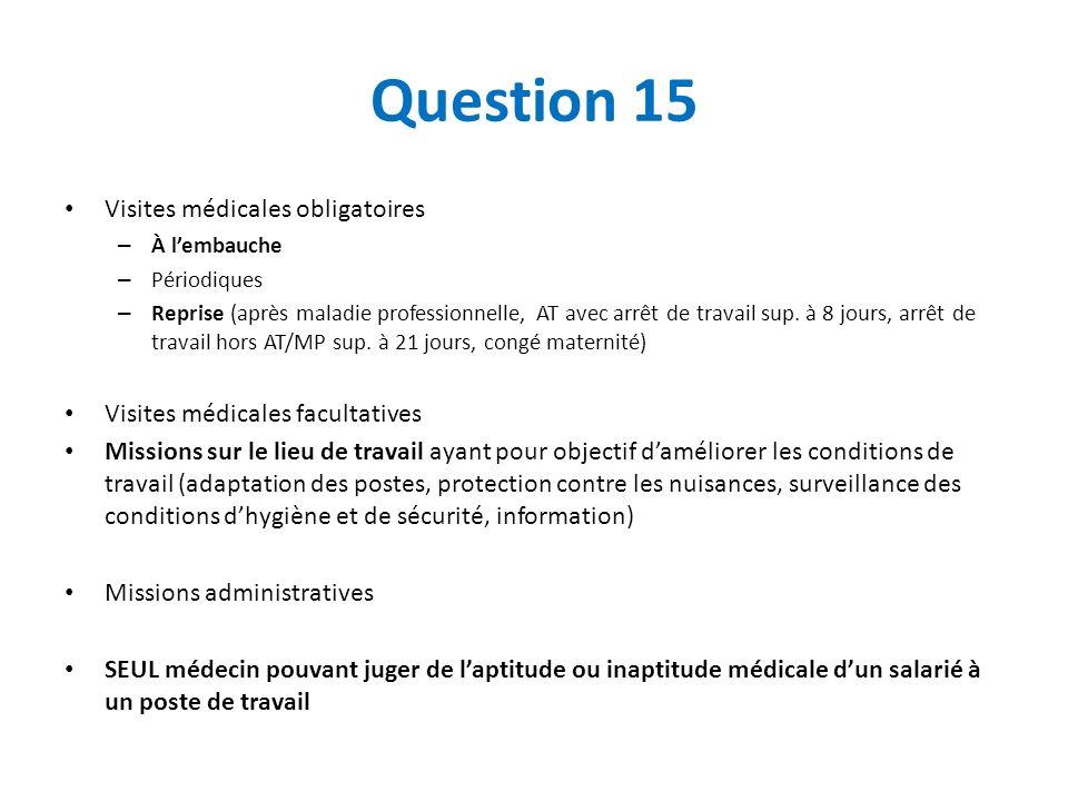 Question 15 Visites médicales obligatoires – À lembauche – Périodiques – Reprise (après maladie professionnelle, AT avec arrêt de travail sup. à 8 jou