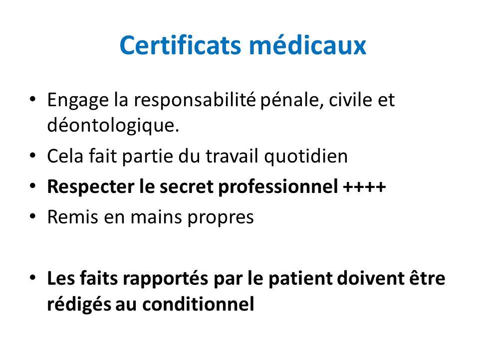 Certificats médicaux Engage la responsabilité pénale, civile et déontologique. Cela fait partie du travail quotidien Respecter le secret professionnel
