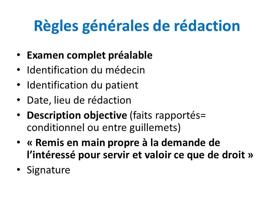 Règles générales de rédaction Examen complet préalable Identification du médecin Identification du patient Date, lieu de rédaction Description objecti