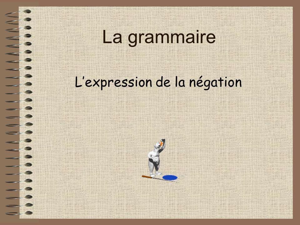 La grammaire Lexpression de la négation