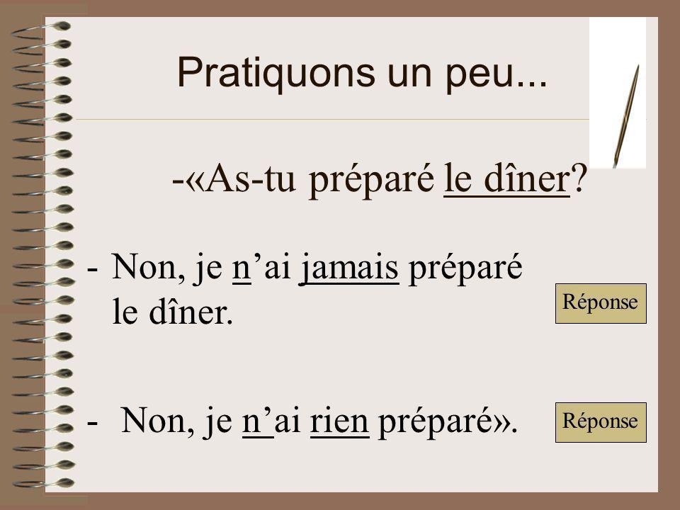 Pratiquons un peu...-«As-tu préparé le dîner. -Non, je nai jamais préparé le dîner.