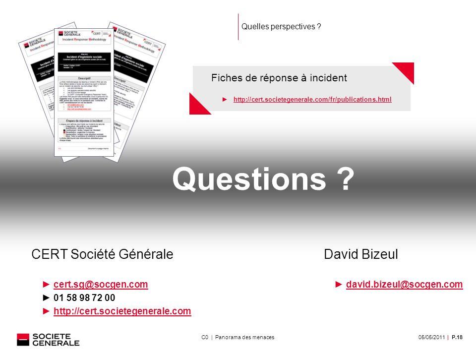 05/05/2011| P.18C0 | Panorama des menaces Quelles perspectives .
