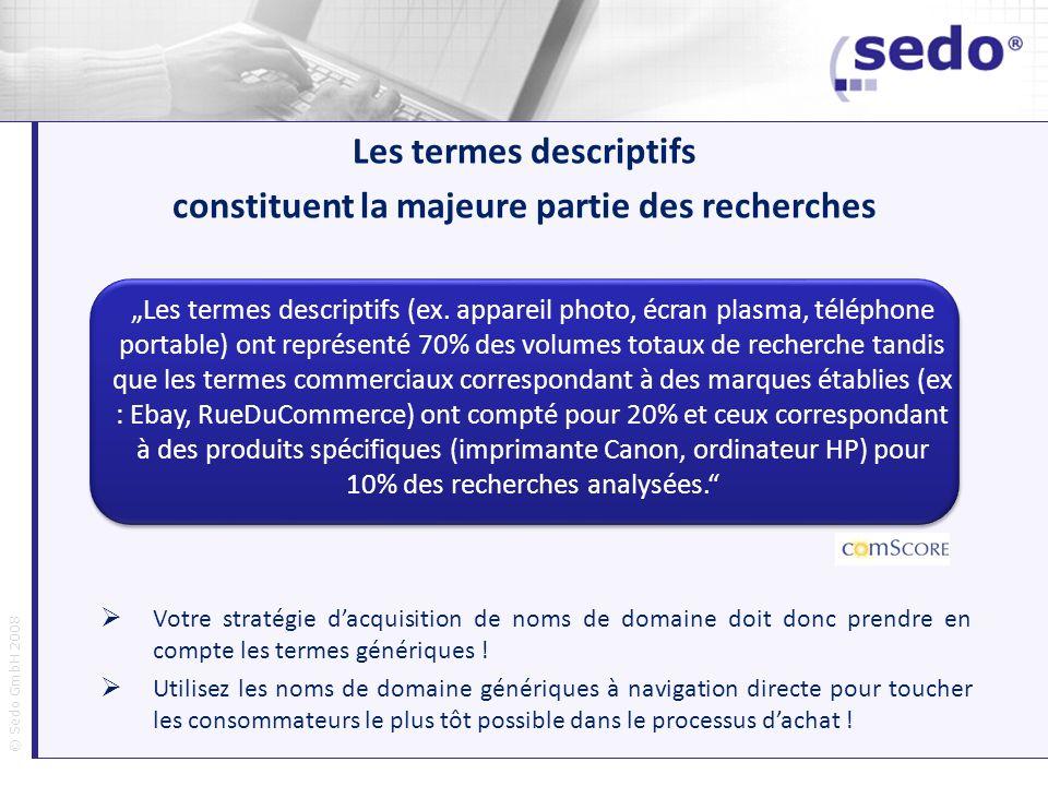 © Sedo GmbH 2008 Les termes descriptifs (ex. appareil photo, écran plasma, téléphone portable) ont représenté 70% des volumes totaux de recherche tand