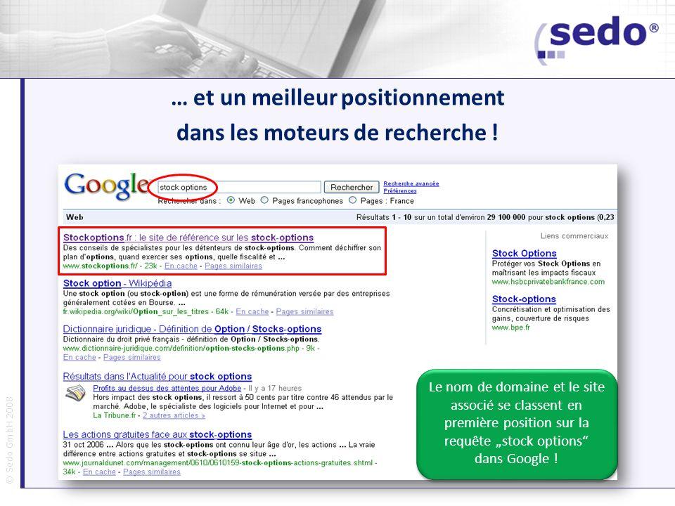 © Sedo GmbH 2008 … et un meilleur positionnement dans les moteurs de recherche ! Le nom de domaine et le site associé se classent en première position