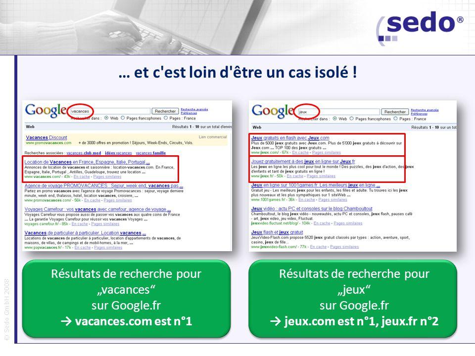 © Sedo GmbH 2008 … et c'est loin d'être un cas isolé ! Résultats de recherche pour vacances sur Google.fr vacances.com est n°1 Résultats de recherche