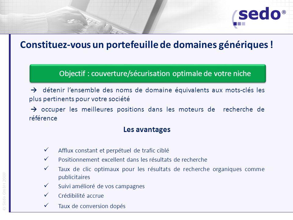 © Sedo GmbH 2008 Constituez-vous un portefeuille de domaines génériques ! détenir lensemble des noms de domaine équivalents aux mots-clés les plus per