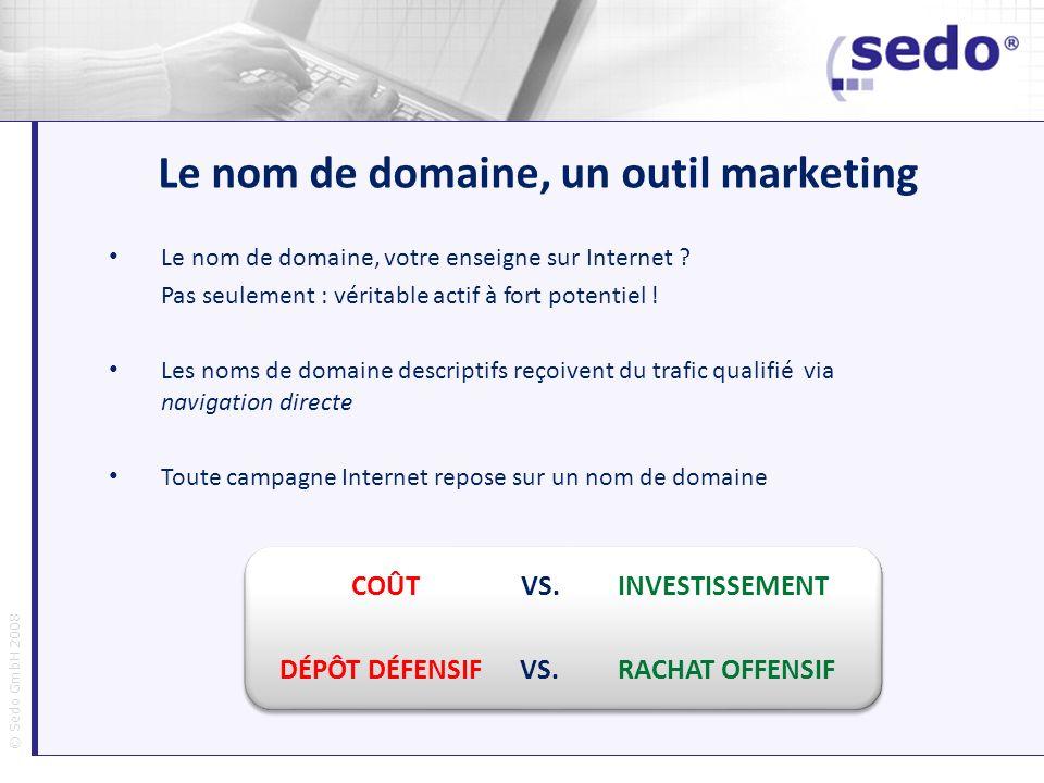 © Sedo GmbH 2008 Le nom de domaine, un outil marketing Le nom de domaine, votre enseigne sur Internet ? Pas seulement : véritable actif à fort potenti