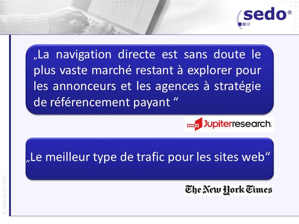 © Sedo GmbH 2008 La navigation directe est sans doute le plus vaste marché restant à explorer pour les annonceurs et les agences à stratégie de référe