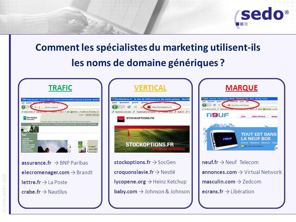 © Sedo GmbH 2008 Comment les spécialistes du marketing utilisent-ils les noms de domaine génériques ? TRAFICVERTICAL MARQUE assurance.fr BNP Paribas e