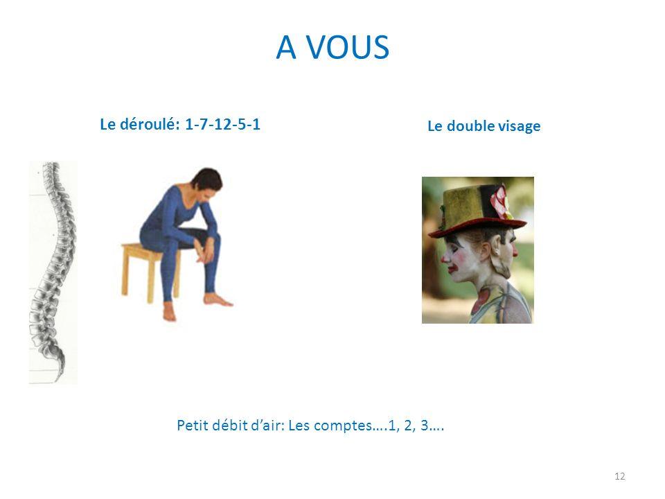 A VOUS Le déroulé: 1-7-12-5-1 Le double visage 12 Petit débit dair: Les comptes….1, 2, 3….