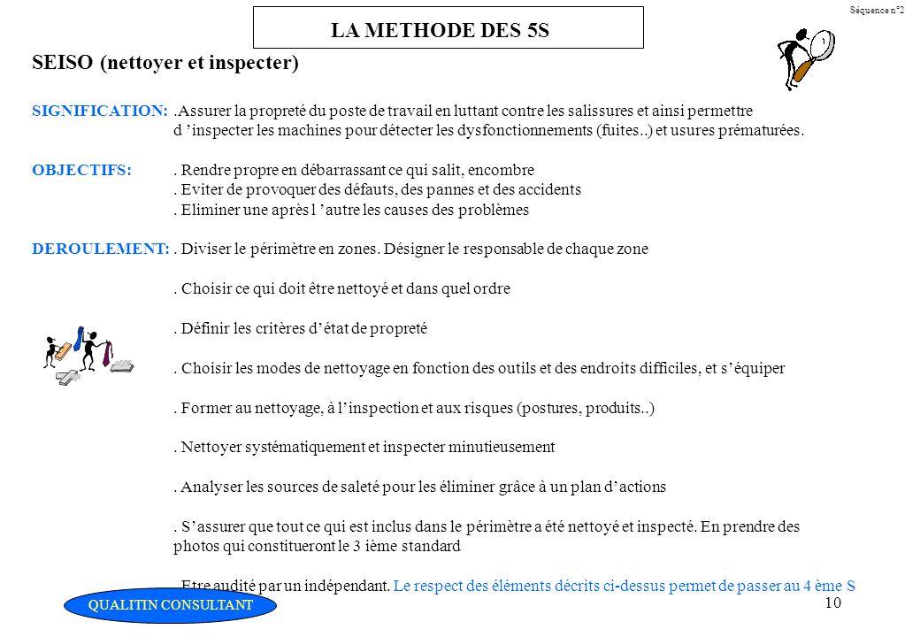 Christian Fouché Consultant10 Séquence n°2 LA METHODE DES 5S SEISO (nettoyer et inspecter) SIGNIFICATION:.Assurer la propreté du poste de travail en l