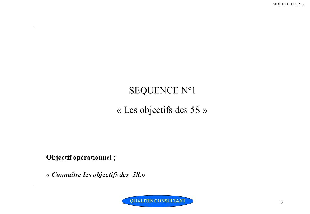 Christian Fouché Consultant2 MODULE LES 5 S SEQUENCE N°1 « Les objectifs des 5S » Objectif opérationnel ; « Connaître les objectifs des 5S.» QUALITIN