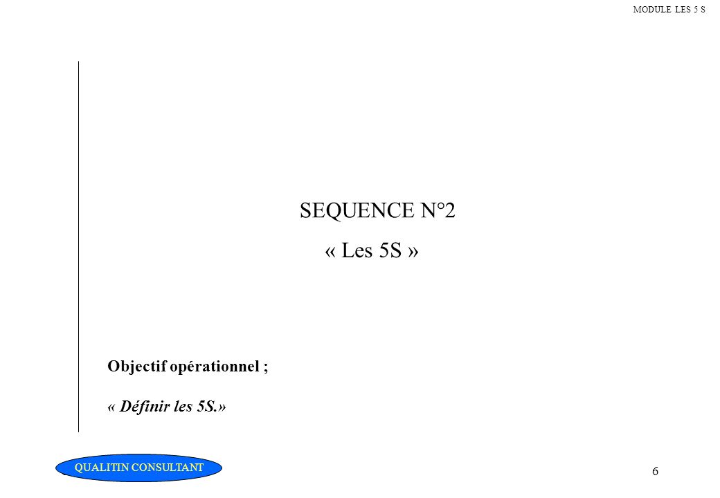 Christian Fouché Consultant6 MODULE LES 5 S SEQUENCE N°2 « Les 5S » Objectif opérationnel ; « Définir les 5S.» QUALITIN CONSULTANT